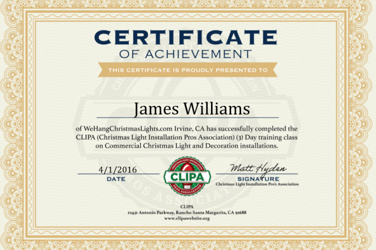 Christmas Light Installation Pros Association Commercial Certificate